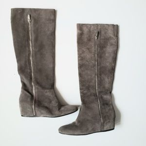 BCBGeneration Grey suede wedge boots size 7.5